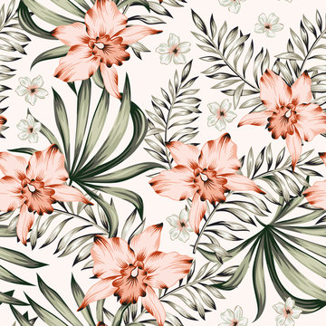 Tropical pink orchid, plumeria flowers and palm leaves bouquets background. Vector seamless pattern. Jungle foliage illustration. Exotic plants. Summer beach floral design. Paradise nature