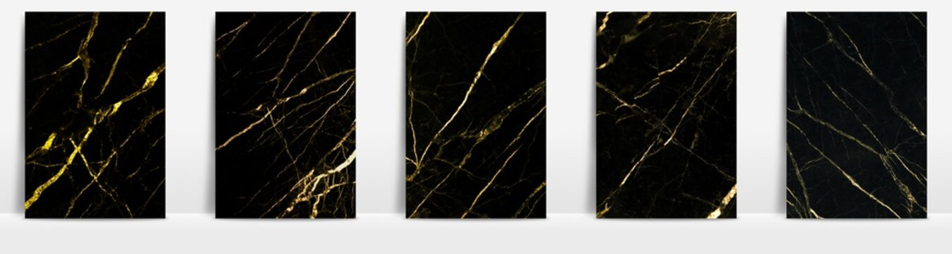 Marble collection abstract pattern texture golden background.