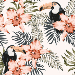 Toucans, pink orchid flowers, palm leaves bouquets background. Vector floral seamless pattern. Tropical illustration. Exotic plants, birds. Summer beach design. Paradise nature