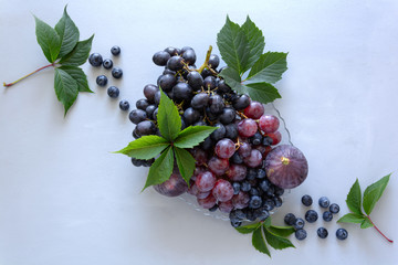 Fresh organic seasonal fruit: grapes, figs and blueberry. Autumn harvest on gray wooden background....