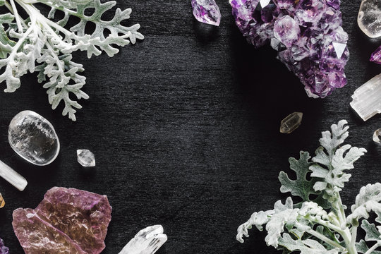 Stones of the Crown Chakra with Dusty Miller