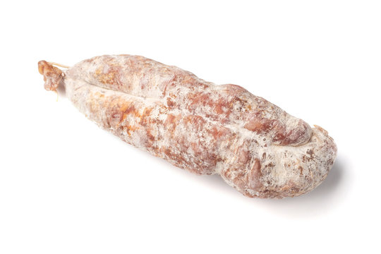 Dry sausage isolated on white background