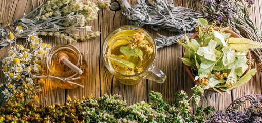 Harvesting herbs, flower tea and honey, alternative medicine Wall mural