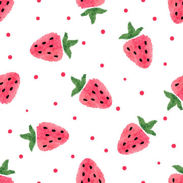 Seamless watercolor strawberry pattern. Vector berry background.
