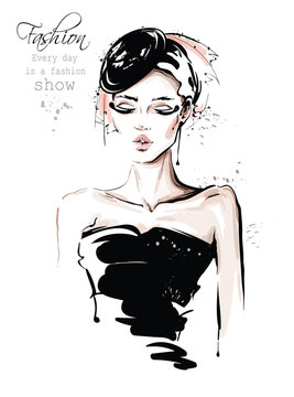 Hand drawn beautiful young woman in black hat. Stylish girl. Fashion woman look. Sketch. Vector illustration.