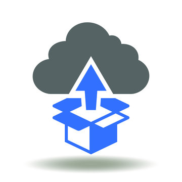 Cloud box packaging arrow up icon vector. Application and software deployment logo. Deploy app, coding development web sign.