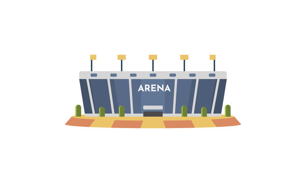 Sport stadium front view vector in cartoon style. City arena exterior illustration.