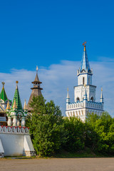 Towers of the Izmailovo Kremlin. Russian vintage architecture. Moscow, Russia.