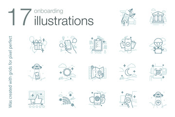 Onboarding icons-illustrations (outline gray)