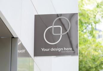 Glass Business Sign Mockup