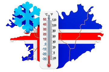 Extreme cold in Iceland concept. 3D rendering