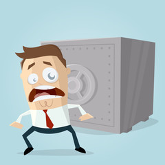 worried businessman is concered about the money in his safe