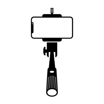 Monopod selfie stick icon, self portrait. Creative illustration of monopod selfie stick with empty phone mobile screen isolated on white background – vector for stock
