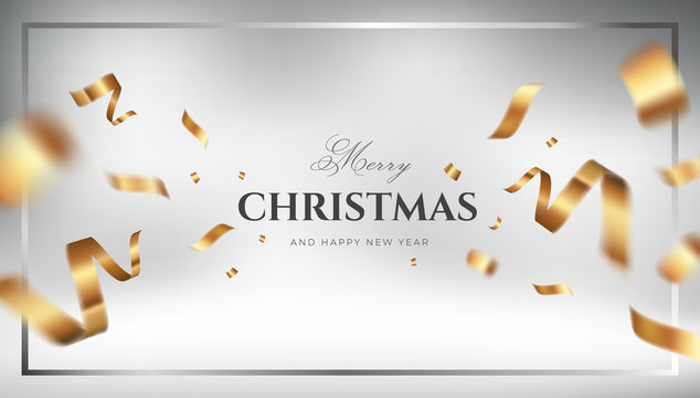 Golden Christmas vector background design with flying gold confetti. Elegant festive decoration gift card or web banner template