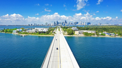 Rickenbacker Causeway with back to Miami Downtown View