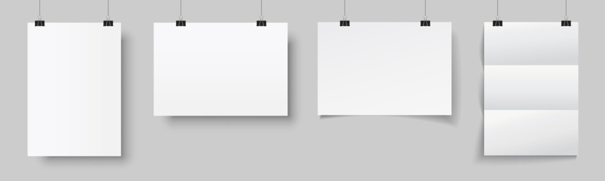 Four blank posters hanging with shadows. White hanging white paper on binders. A4 paper page, mockup, sheet on wall - stock vector