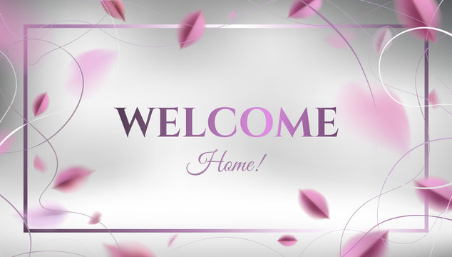 Welcome Home banner background with pink leaves and white elegant decoration vector design