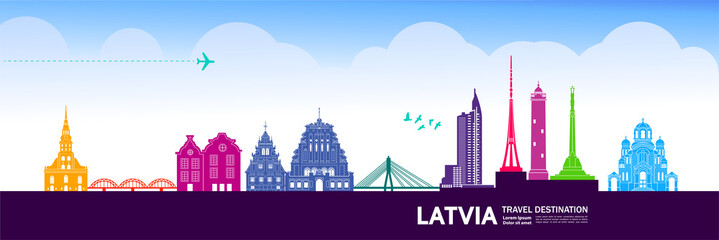 Wall Mural - Latvia travel destination grand vector illustration.