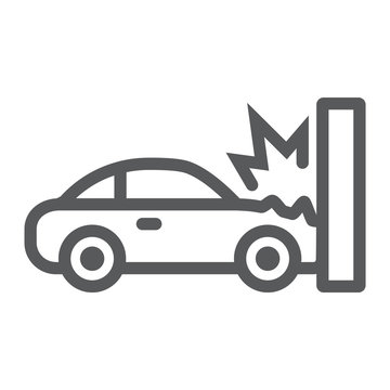 Traffic accident line icon, disaster and auto, car crash sign, vector graphics, a linear pattern on a white background.