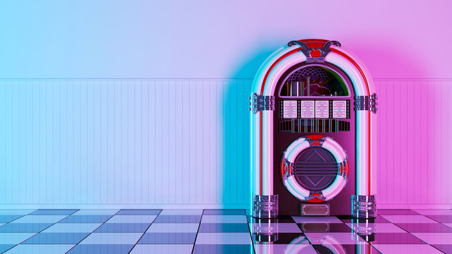 Neon retro jukebox on white wood planks wall and checker black white floor. 3d. 60s 70s 80s