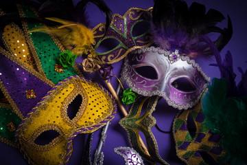 Wall Mural - Mardi Gras masks on a dark background