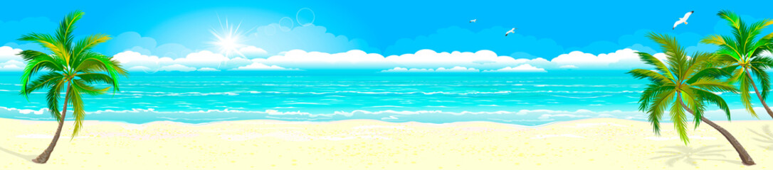 Tropical sandy beach and ocean 1. Panorama of a tropical sandy beach. Ocean coast. Landscape of the tropical coast. Sea shore landscape. Ocean, sky, sun and sand Fototapete