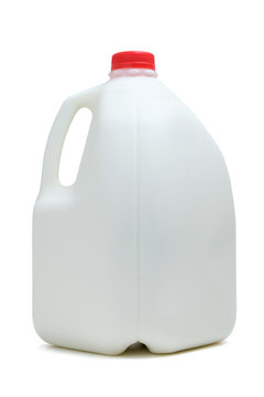 One gallon bottle of milk with red color cap