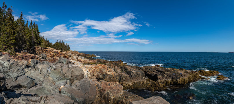 Blue Sky and White Clouds in Acadia National Park