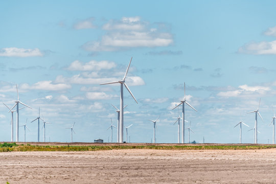 Wind turbine farm near Roscoe Sweetwater Texas in USA in prairie with rows of many machines for energy