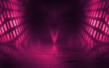 Empty background scene. Dark street reflection on wet asphalt. Rays of neon light in the dark, neon figures, smoke. Background of empty stage show. Abstract dark background. Fotomurales