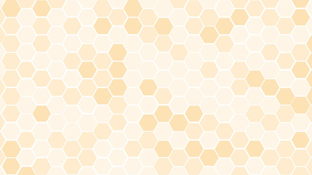 Soft color of Honeycomb or beehive grid cell random color of gold or golden or honey or yellow color tone for background or Hexagonal cell texture. With 4k resolution.