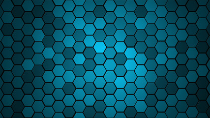 Honeycomb Grid tile random background or Hexagonal cell texture. in color Blue with dark or black gradient. Tecnology concept. with 4k resolution.