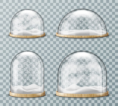 Glass dome with snow realistic vector. Glass round dome of various shapes with light wood plate and white falling snowflakes, isolated on transparent background. Christmas souvenir