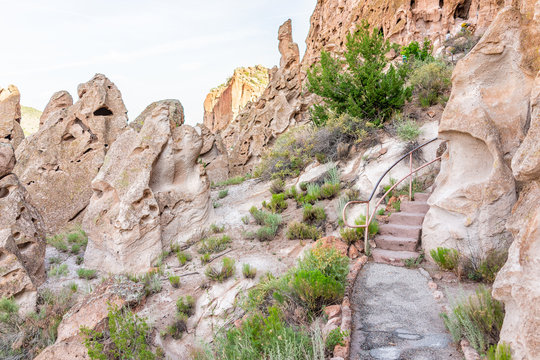 Park with steps stairs on Main Loop trail path in Bandelier National Monument in New Mexico