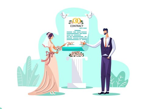 Marriage contract concept vector illustration