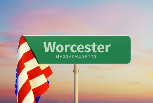 Worcester - Massachusetts. Road or Town Sign. Flag of the united states. Sunset oder Sunrise Sky