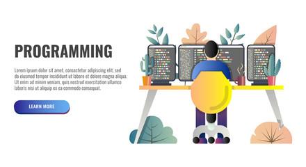 Programmer at work concept. Web banner. Vector illustration