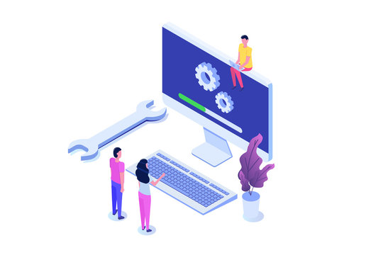 Decktop System update flat style concept. Vector isometric illustration
