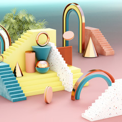 Mock up geometric abstract compositions, 3d illustration