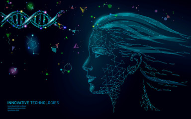 DNA molecule treatment cosmetic essence 3D. Low poly female face polygonal medical beauty care. Medicine gene helix structure vitamin anti-aging serum vector illustration