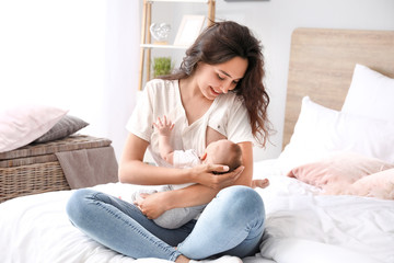 Mom breastfeeding and Happy Face