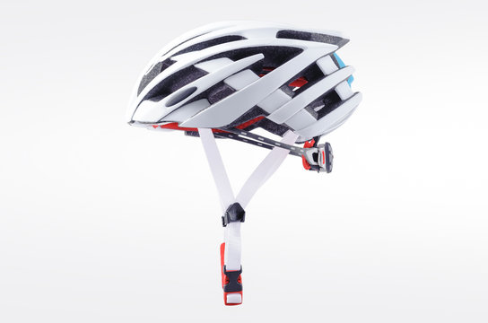 White bicycle helmet isolated on white background