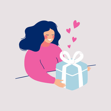 Cartoon young woman received present with love. Girl opens big gift surprise. Vector character illustration