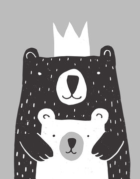 Cute Hand Drawn Big Bear and Little Baby Bear Vector Illustration. Gender Neutral Colors Nursery Art for Card, Invitation, Father's or Mother's Day. Big Black Daddy or Mommy Bear with White Crown.