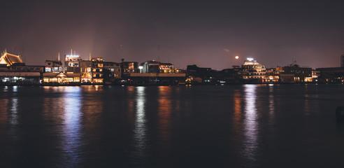 Cityscape Night city urban skyline Bangkok, Thailand