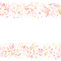 Holiday vector illustration. Gold, pink and rose color round confetti dots
