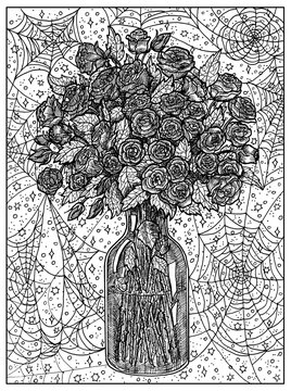 Bouquet. Black and white mystic concept for Lenormand oracle tarot card