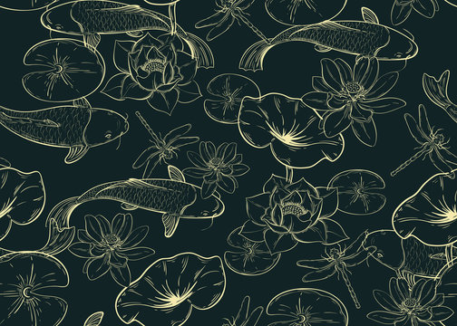 seamless pattern with carps, lotuses and dragonflies