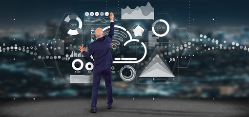 Businessman in front of a wall with Cloud and wifi concept with icon, stats and data 3d rendering