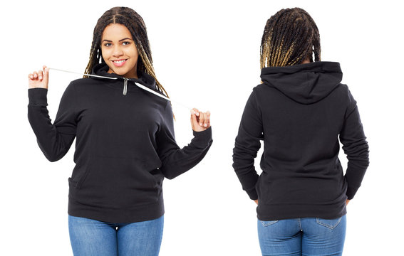 Front back and rear black sweatshirt view. Beautiful black woman in template clothes for print and copy space isolated on white background. Mock up